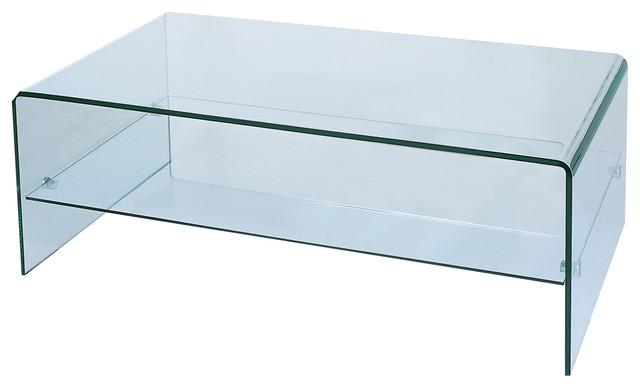 waterfall bent glass coffee table with storage shelf