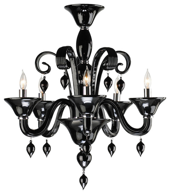 Treviso Contemporary Black 5 Light Murano Glass Chandelier Transitional Chandeliers