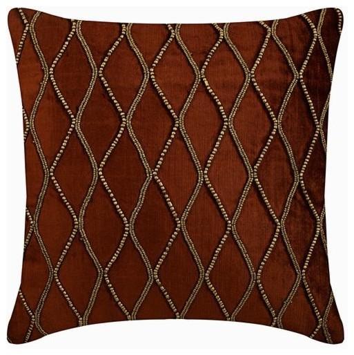 rust orange large square pillow cover velvet 24x24 trellis lattice sumac gold