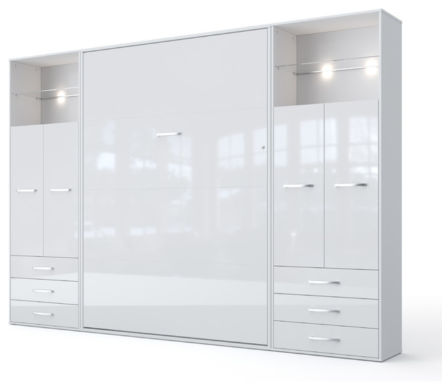 invento vertical wall bed with 2 cabinets white white european queen