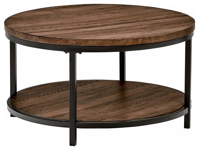 industrial round coffee table pine wood metal open shelf walnut finish