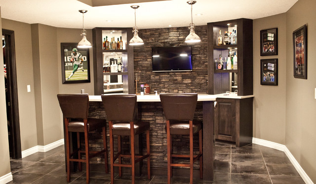 Stone Basement Wetbar And Dark Wood Cabinetry Transitional Basement San Diego By