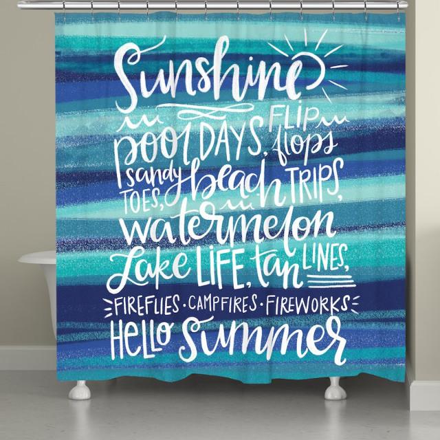 sunshine vibes shower curtain