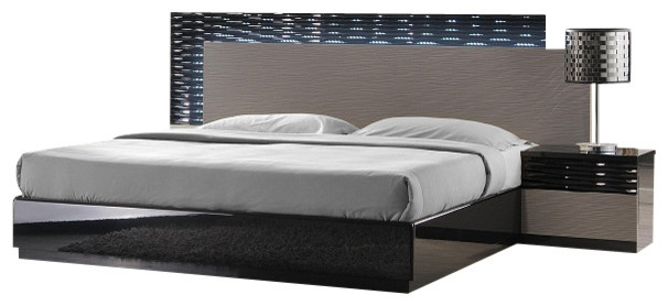jnm roma modern black and grey lacquered bedroom set - modern