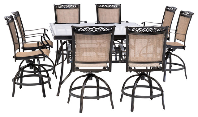 fontana 9 piece counter height outdoor dining set with 8 sling swivel chairs