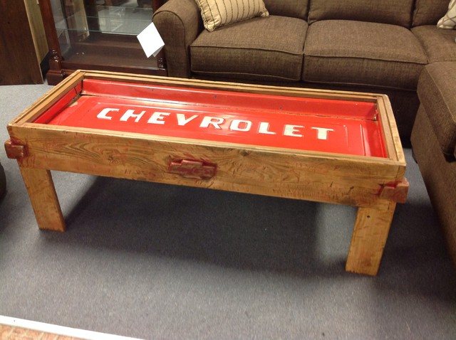 coffee table old car parts rustic