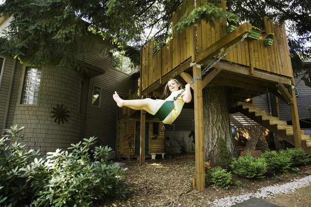 Tree House With Swing Rustic Kids Portland By YES