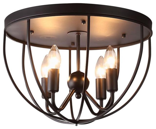 rustic black metal round cage semi flush mount ceiling light 4 light