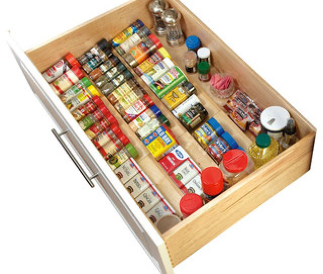 Rev A Shelf Wood Spice Drawer Insert Natural Transitional Kitchen Drawer Organizers By Rev A Shelf