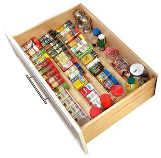 rev-a-shelf wood spice drawer insert, natural - transitional