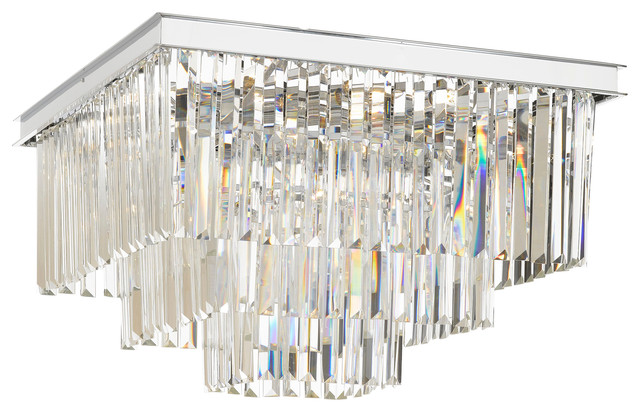 Retro Odeon Crystal Glass Fringe 3 Tier Flush Mount Chandelier Contemporary