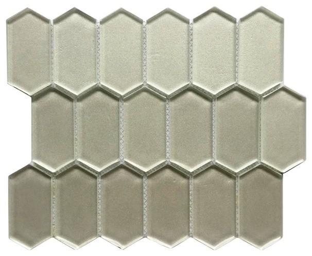 elongated pickett hexagon metalic glass mosaic tile 12 x10 set of 10