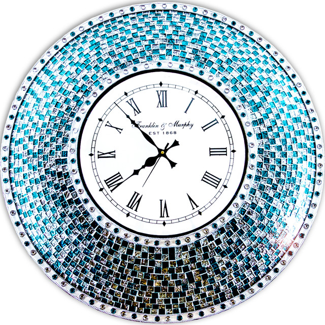 DecorShore 24 Silver And Turquoise Mosaic Decorative Wall