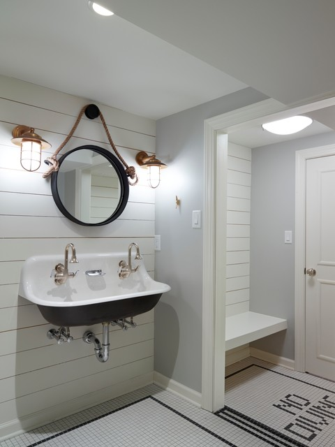 Room Of The Day Basement Bathroom With Nautical Flair
