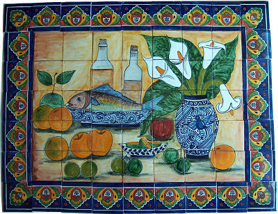 fish bodegon clay talavera tile mural