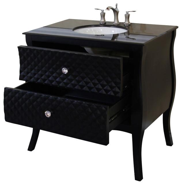35 4 inch single sink vanity wood black white phoenix stone top