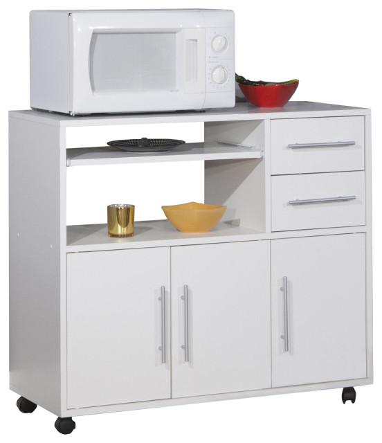 white kitchen microwave storage cart on castors