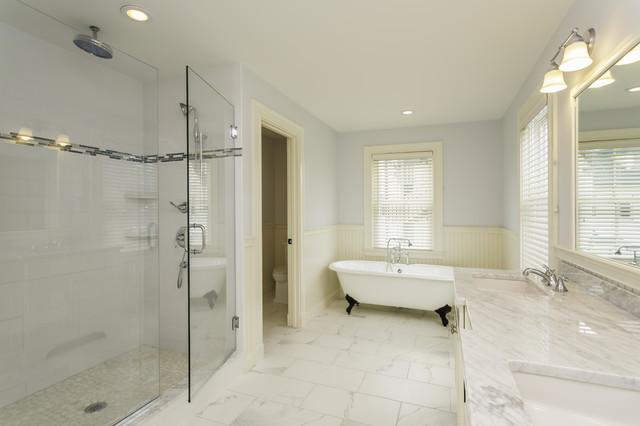 Carrara Marble Tile White Bathroom Design Ideas