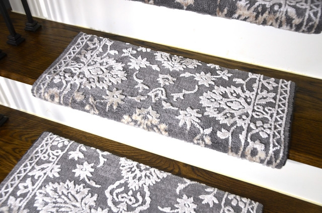 Stair Carpet Treads Dry Carpet | Gray Carpet Stair Treads | Black | Set | Wood | Grey Patterned | Fitting Loop Pile Carpet