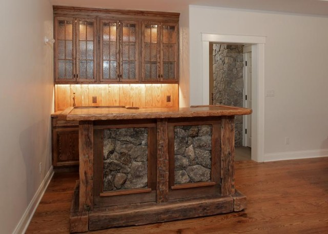 Rustic Bar With Stone And Built Ins Traditional Wine