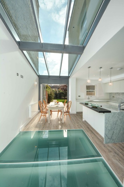 Glass Floor In Kitchen Contemporary Dining Room Kent