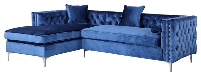 Da Vinci Velvet On Tufted Left Facing Sectional Sofa Navy Blue Transitional