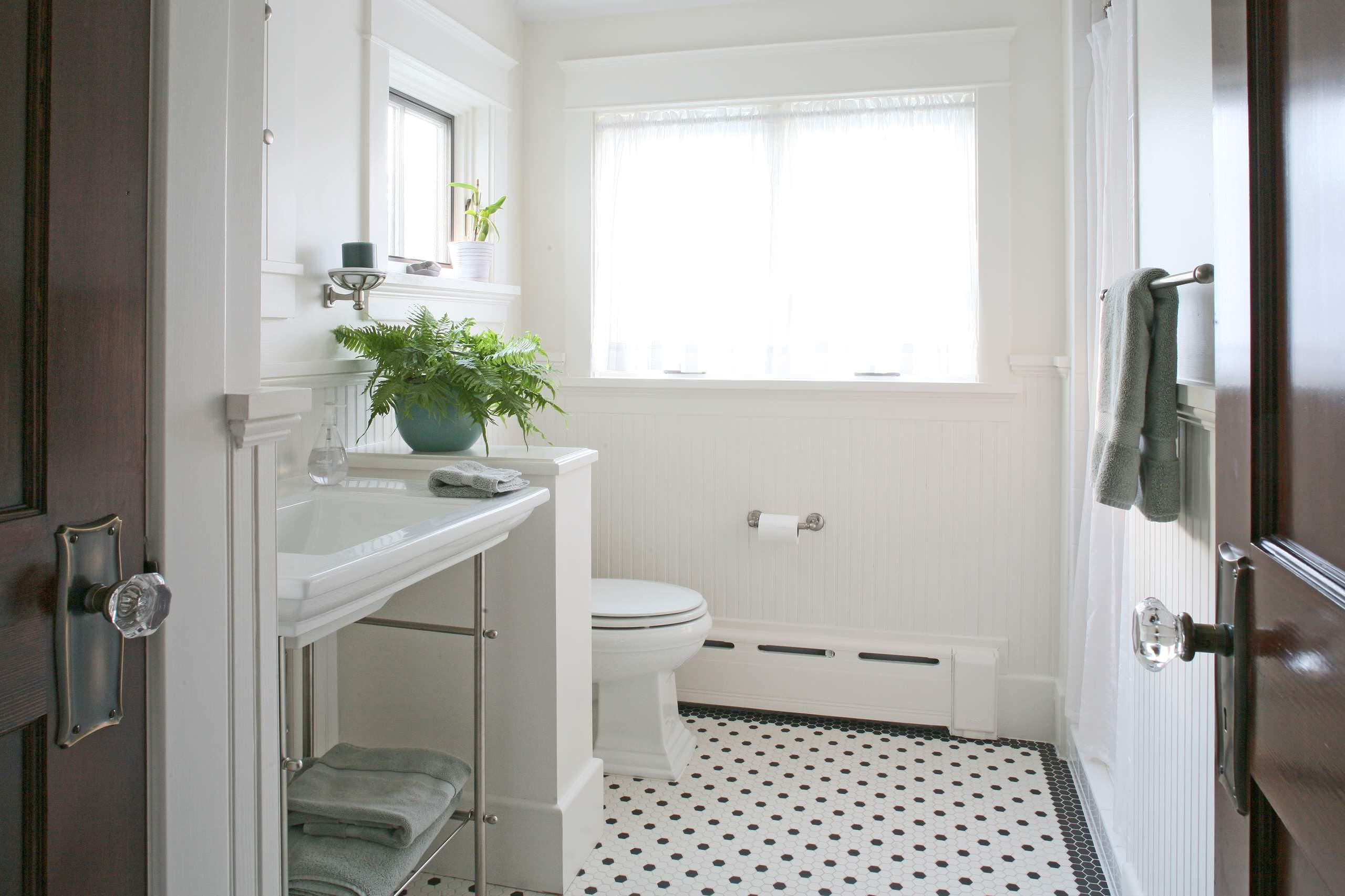 craftsman mosaic tile floor bathroom