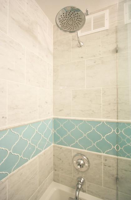 arabesque tile bathroom remodel