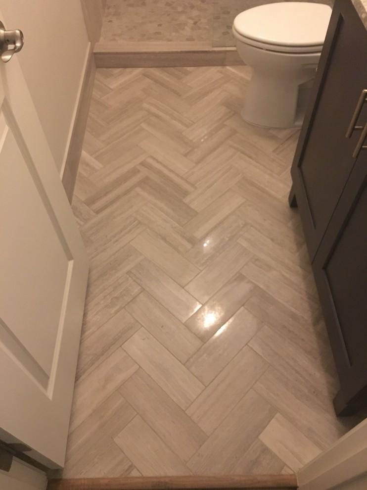 bathroom gray limestone tile
