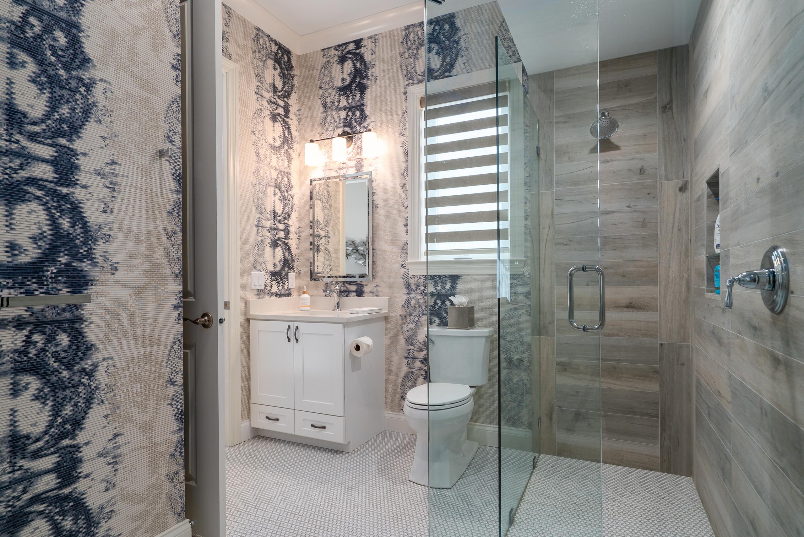 wood look tile walk in shower