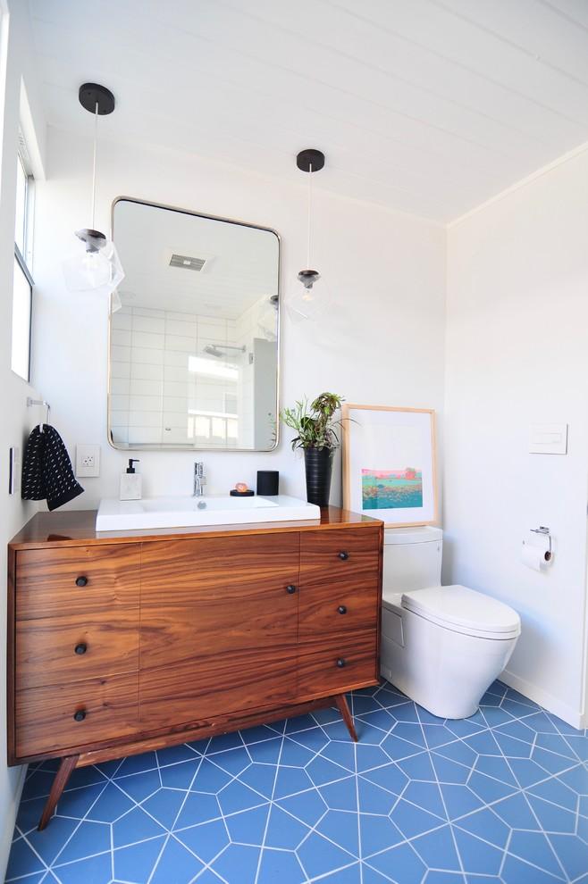 bold blue tile floor midcentury