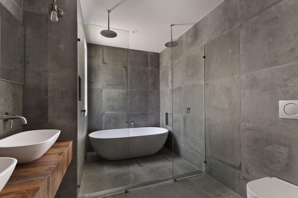 custom concrete tile shower encinitas