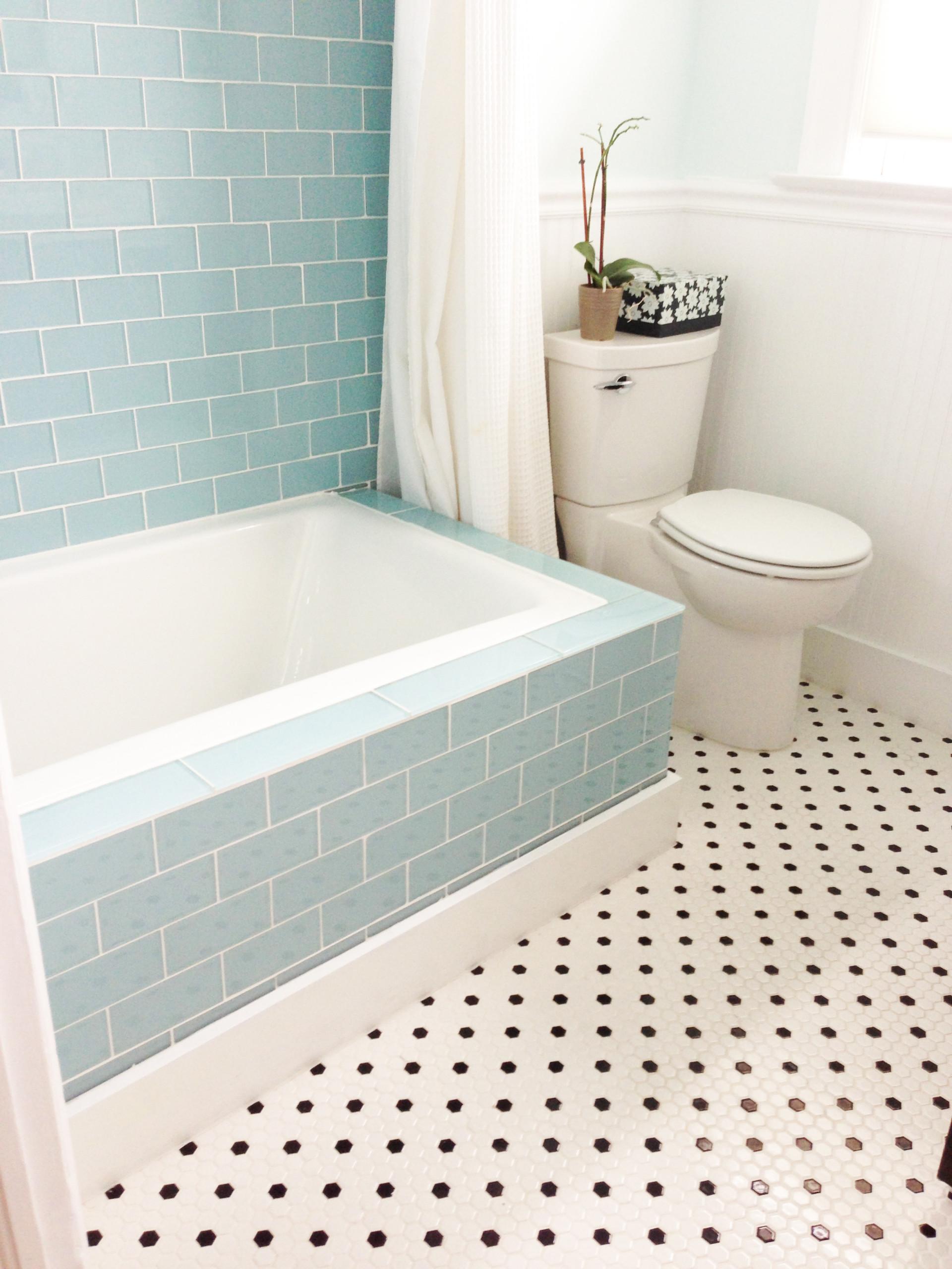 blue glass subway tile houzz