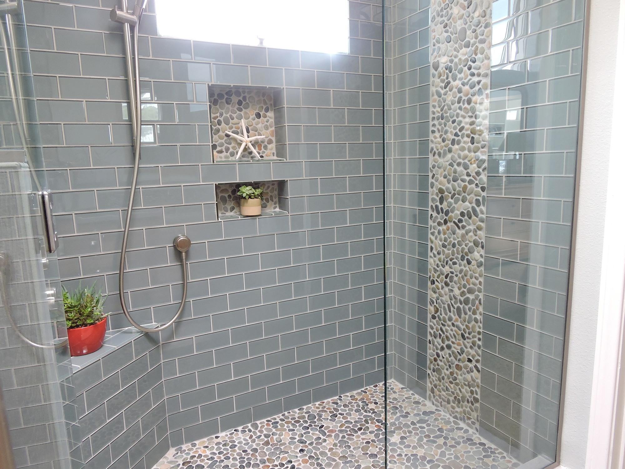 blue gray glass tile houzz