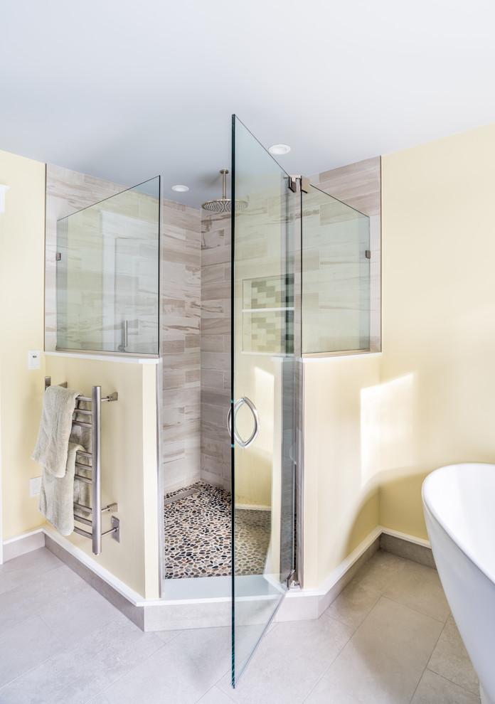 large corner shower with glass door