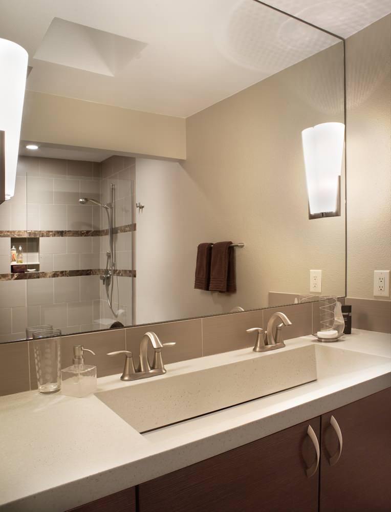 double faucet trough sink ideas