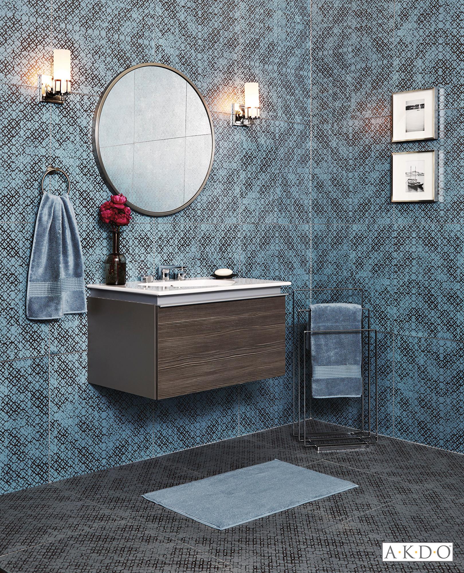 metallic blue bathroom eclectic