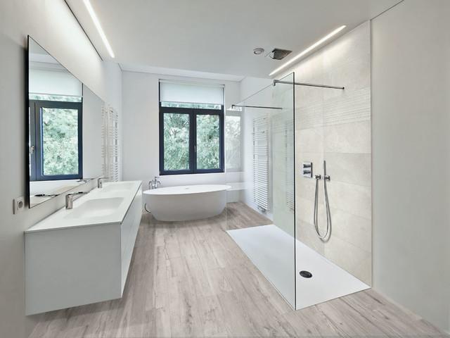 modern bathroom with light wood look