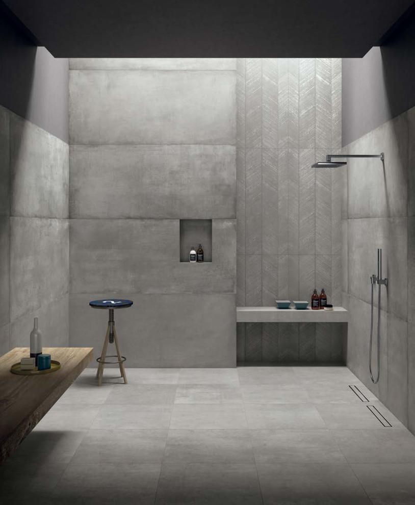 cement look porcelain tiled walls