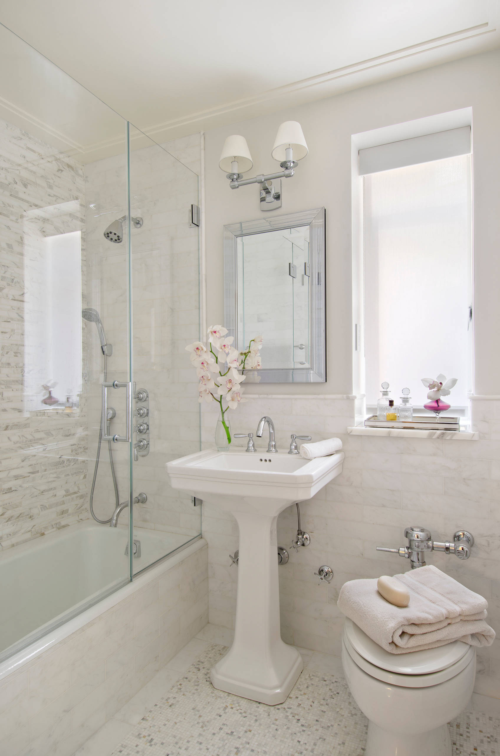bathroom with a pedestal sink pictures
