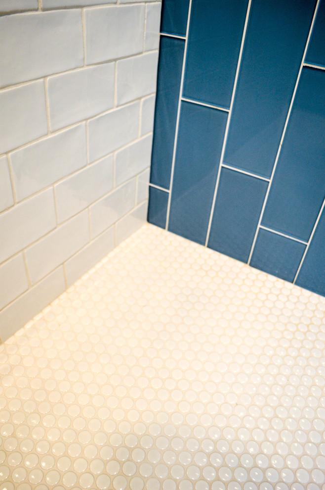 penny round tile shower floor