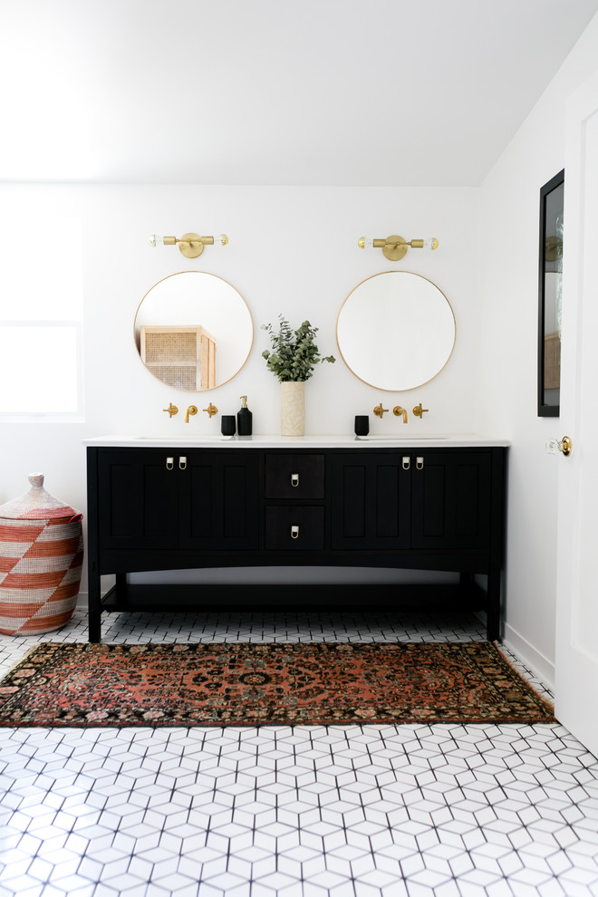 small diamond bathroom floor eclectic