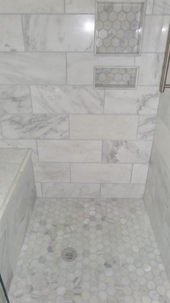 white carrera tile bath remodel