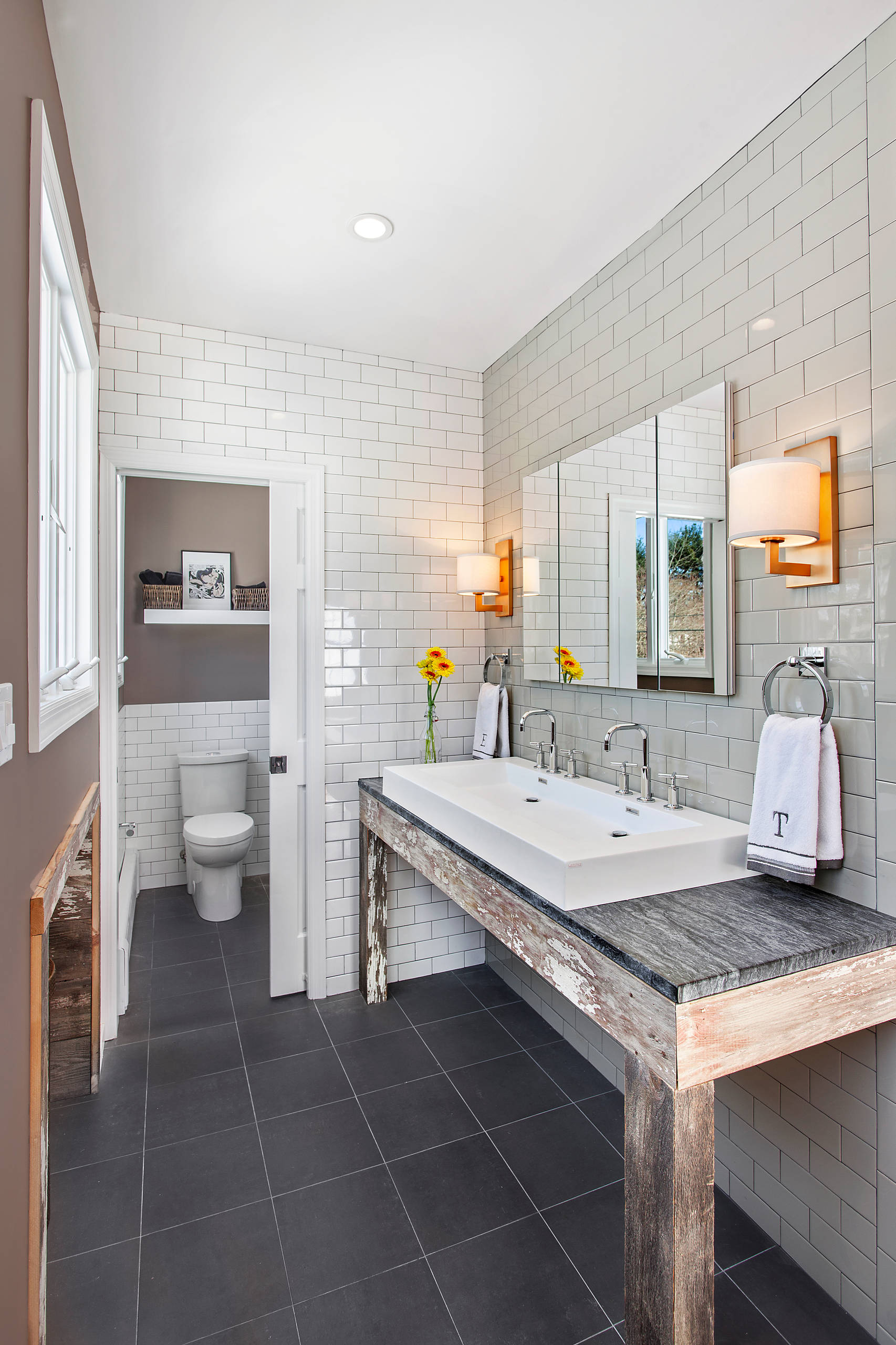 trough sink and soapstone countertops