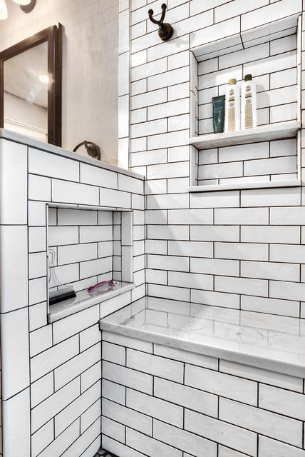 white subway tile shower niche master