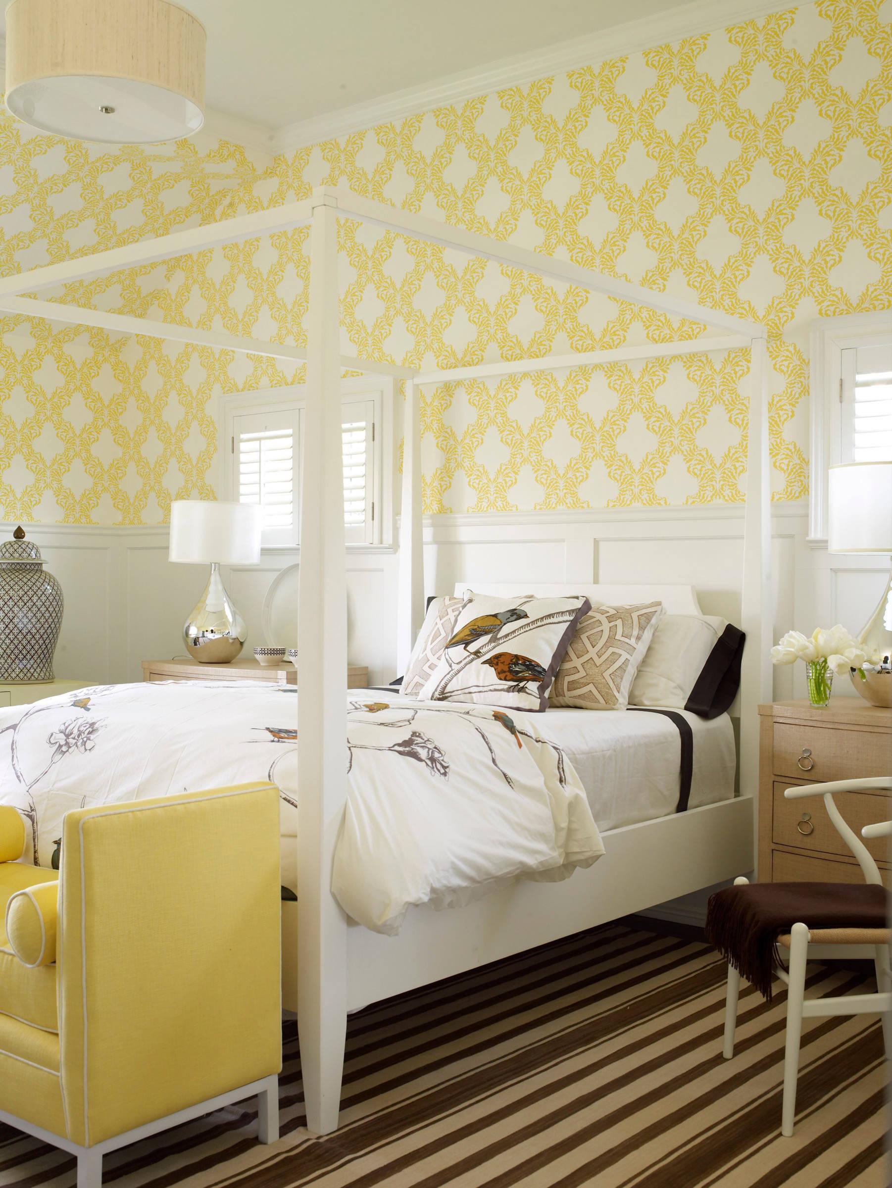 75 beautiful bedroom with yellow walls