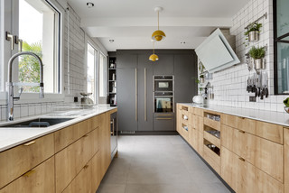 cuisine avec un sol gris photos et