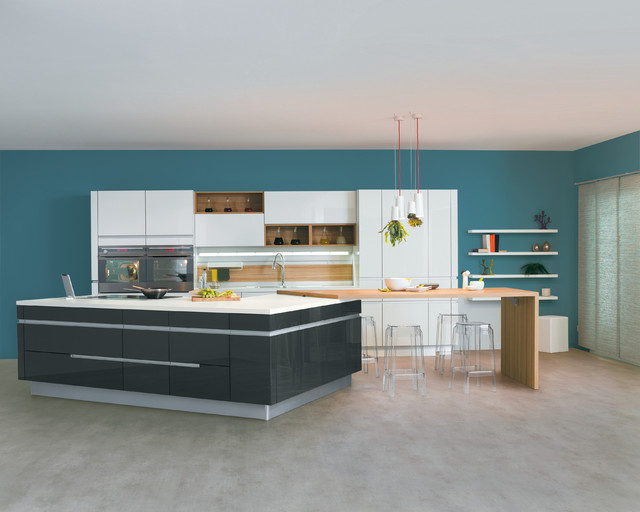 une cuisine contemporaine avec un vaste