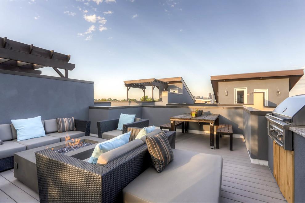 sleek and soft rooftop deck