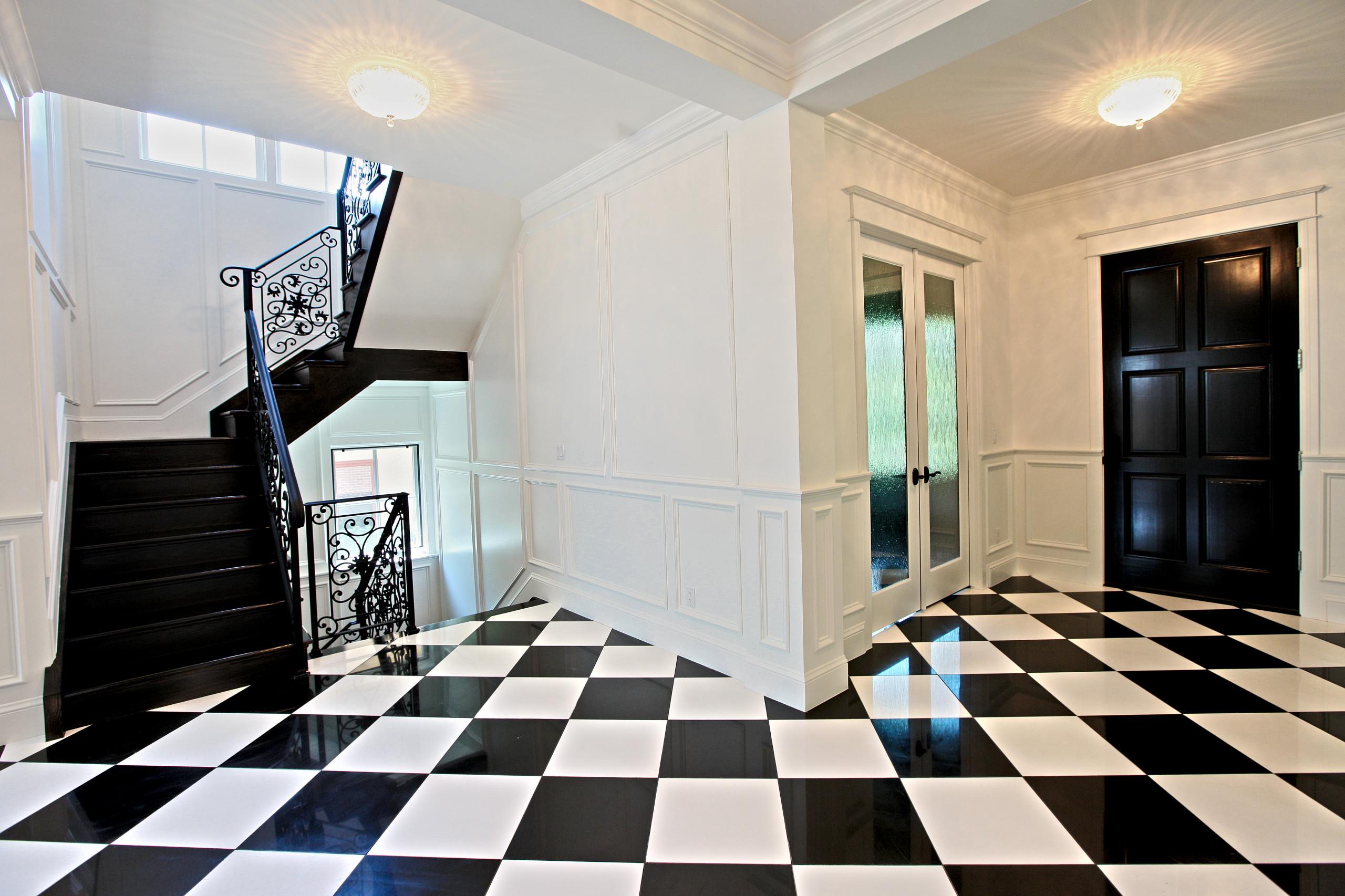 black and white tile floor entry ideas
